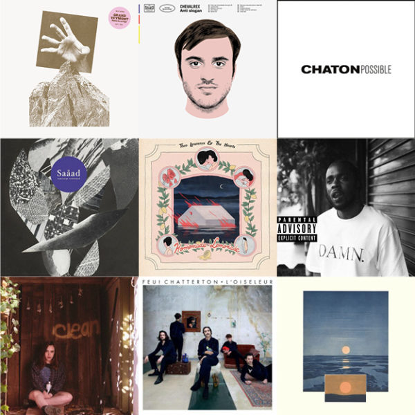 Pochettes des disques vinyles de la semaine du 7 mars 2018 aux Balades Sonores : Grand Vermont, Chevalrex, Chaton, Saaad, Theo Lawrence & The Hearts, Kendrick Lamar, Soccer Mommy, Feu! Chatterton, Egyptology